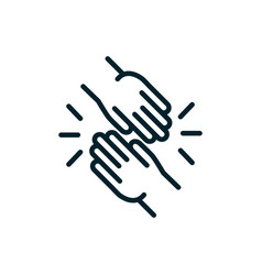 hands together peace and human rights line vector image