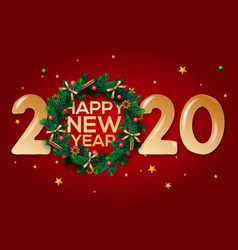 happy new year 2020 greeting card with wreath vector image