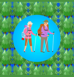 Happy senior couple traveling together in forest vector