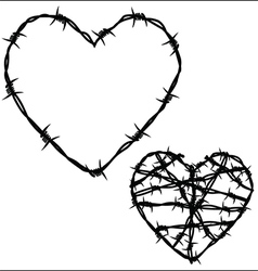 Heart of barbed wire vector image