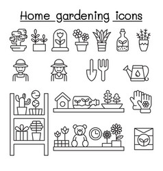 home gardening icons set in thin line style vector image