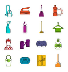 House cleaning icons doodle set vector