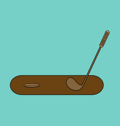 icon in flat design golf stick and hole vector image