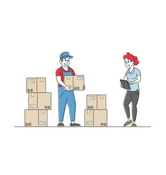 Inventory manager characters accounting goods vector