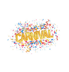 Isolated carnival golden word and colorful vector