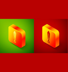 Isometric sword toy icon isolated on green and red vector