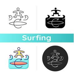 Kickflip surfing technique icon vector