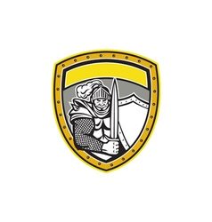 Knight Full Armor Open Visor Sword Shield Crest vector