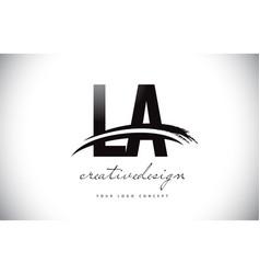 La l a letter logo design with swoosh and black vector