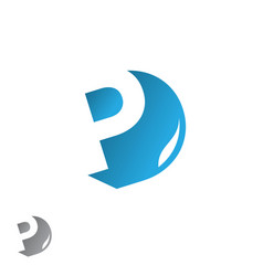 Letter p design template with shadow vector