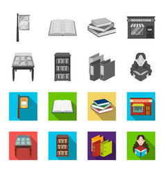 Library and bookstore monochromeflat icons in set vector
