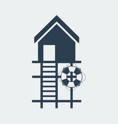 Lifeguard stations iconbeach lifeguard house logo vector