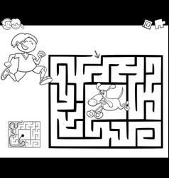 maze activity game with boy and dog vector image