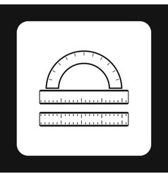 Measuring ruler icon simple style vector