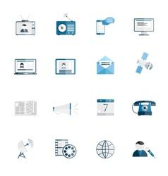 Media icons flat set vector image