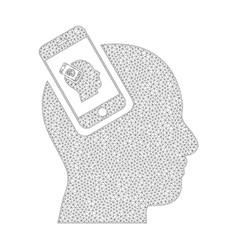 Mesh smartphone head plugin recursion icon vector