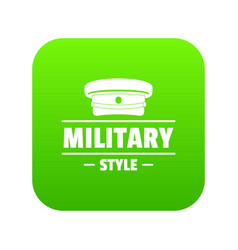 Military hat icon green vector