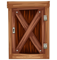 old wooden door on white background vector image