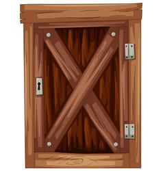 Old wooden door on white background vector