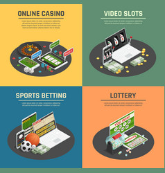 online casino 4 isometric icons vector image