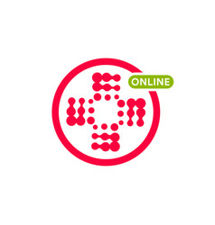 Online pharmacy shop logo abstract red halftone vector