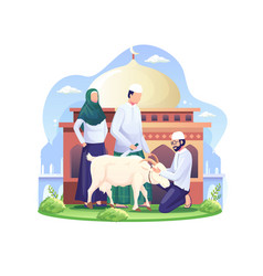 People are sacrificing goats or qurban on eid al vector
