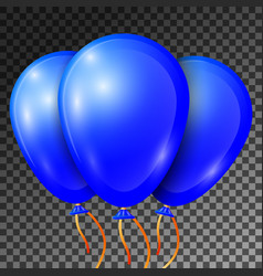 Realistic blue balloons with ribbons isolated vector
