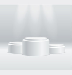 realistic detailed 3d round stage podium set vector image
