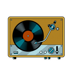 Record player turntable pop art vector
