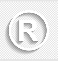 Registered trademark sign white icon with vector