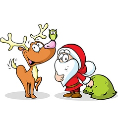 Reindeer owl and santa isolated on white vector