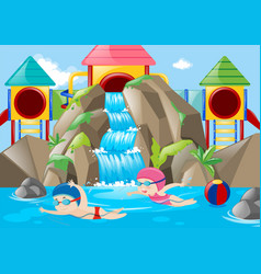 Scene with kids swimming in the water park vector