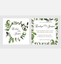 Set for wedding invitation greeting card save vector