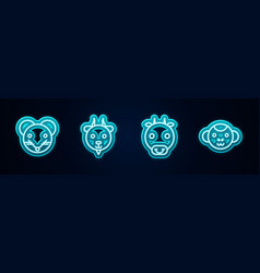 Set line rat zodiac aries ox and monkey glowing vector