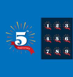 Set of anniversary logotype fireworks anniversary vector