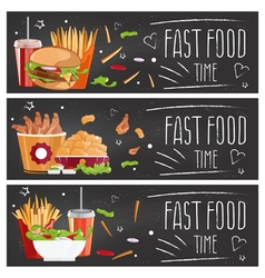 Set of banners for theme fast food with vector