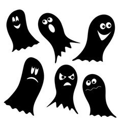 Set of black ghosts isolated on white background vector