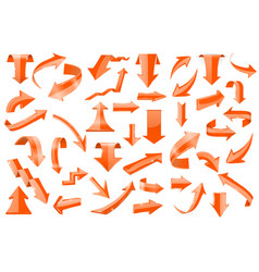 set of orange 3d arrows shiny icons vector image