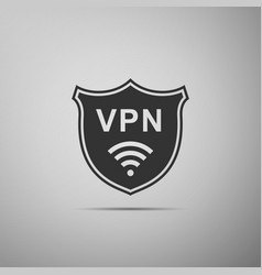 Shield with vpn and wifi wireless network icon vector