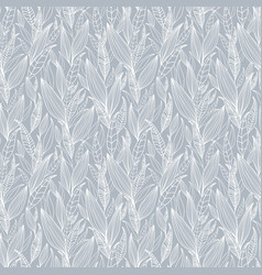 silver grey detailed leaves seamless vector image