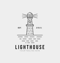 Simple lighthouse line art logo template logo vector