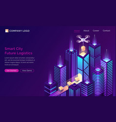 Smart city future logistic isometric landing page vector