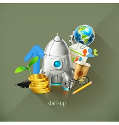 Start-up business project and its development vector image vector image