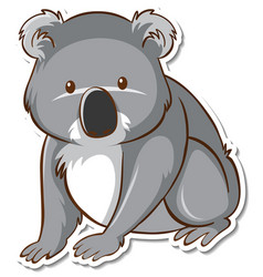 sticker design with cute koala isolated vector image
