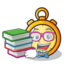 Student with book chronometer character cartoon vector