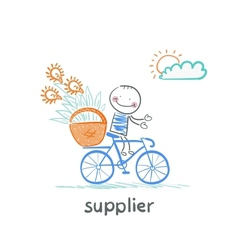 supplier supplier carries a bike basket with goods vector image
