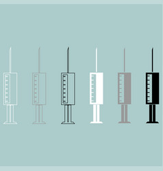 Syringe white grey black icon vector
