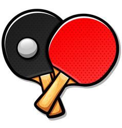 Table tennis paddles cartoon vector