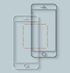 Template of mobile phones with long shadow for vector image