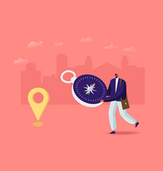 Tiny male character with huge compass orienteering vector